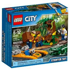 Discover what lurks on the banks of the river in the LEGO® City jungle with the Jungle Starter Set, featuring a boat with space for gear and 3 minifigures, a tree with hidden treasure, camera and a working magnifying glass. Includes 3 minifigures, plus snake, frog and crocodile figures. <br>• Includes 3 minifigures: A jungle explorer, scientist and a boat pilot, plus crocodile, snake and frog figures<br>• Features a boat with space for 3 minifigures and ...
