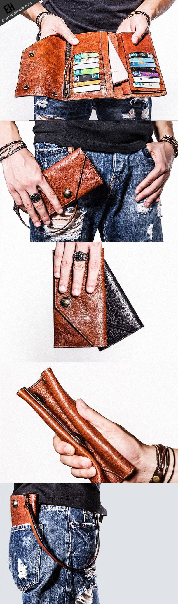 Handmade leather biker trucker wallet leather chain men Brown long