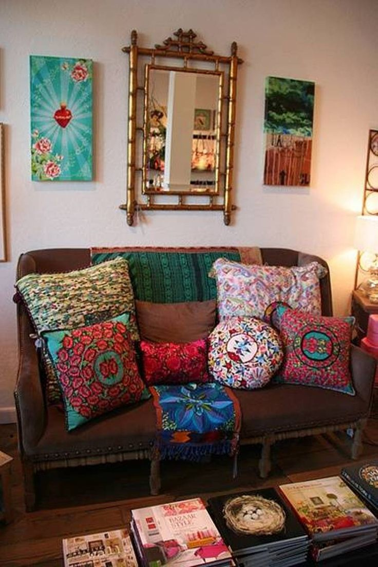 Home Design And Decor Gypsy Ideas With Pillows Brown Loveseat