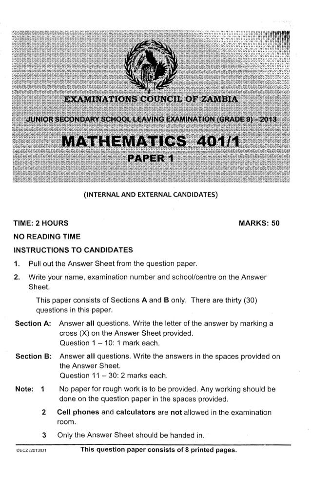 Ecz Grade 9 Maths Paper 1 2016 Past Paper Exam Papers Past Papers 12th Exam