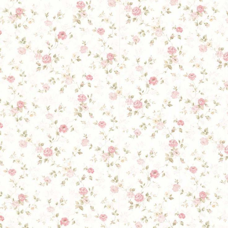 Vintage Rose englische Landhaus Satintapeten kleine rankende Rosen Art.-Nr.: 68348