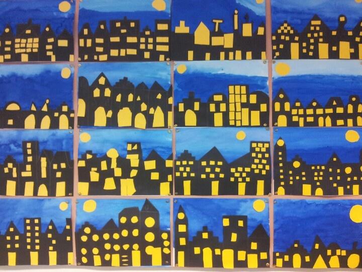 Gemaakt met mijn klas. Idee van tekenenenzo.blogspot.com