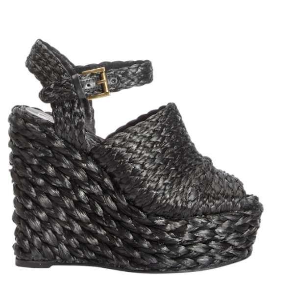 Collezione scarpe Ash primavera estate 2014 - Sandalo con zeppa alta e plateau in rafia nera