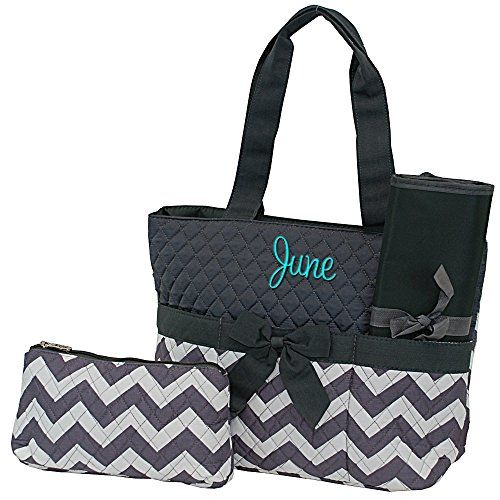 Monogrammed Infants Grey Chevron Diaper Bag with Grey Trim 3 Piece Set Diaper Bag Changing Pad and Accessories Bag, Personalized