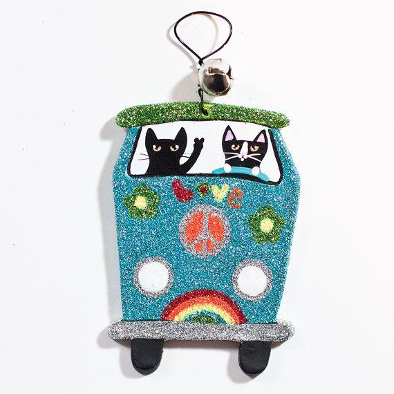 Volkswagen Love Bus Christmas Clay Cat Folk Art by KilkennycatArt, $15.00