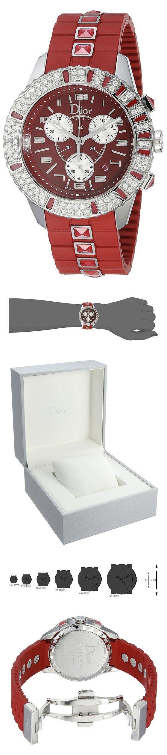 Christian Dior Women's CD11431BR001 Christal Chronograph Diamond Red Dial Watch #watch #christiandior #wrist_watches #watches #women #departments #shops