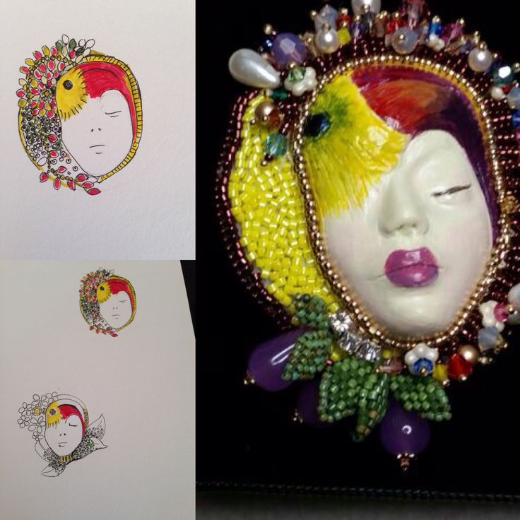 Tropicana Brooch , amazing project porcelain swarovski and agatha beads.