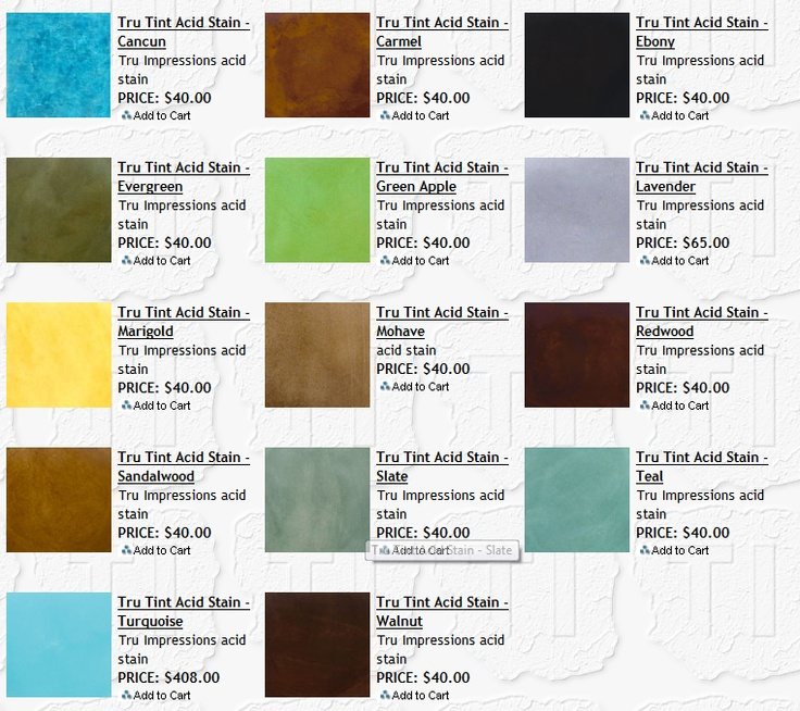 Acid stain color chart offered by The Concrete Source features Tru Tint Acid Stains.