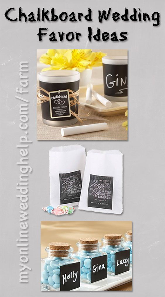 Chalkboard wedding favor ideas ... there's a link to more farm themed favors, too.