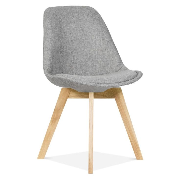 Eames Inspired Grey Upholstered Dining Chair With Solid Oak Crossed Wood Leg Base