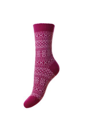 Campbell's of Beauly - Cashmere FairIsle Bed Socks Damson