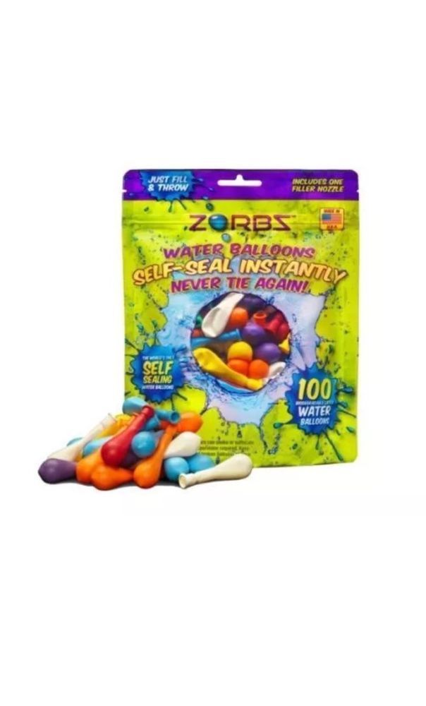 ZORBZ Self-Sealing Water Balloons (100 Count) with Filler Nozzle Bundle Zorbs  | eBay
