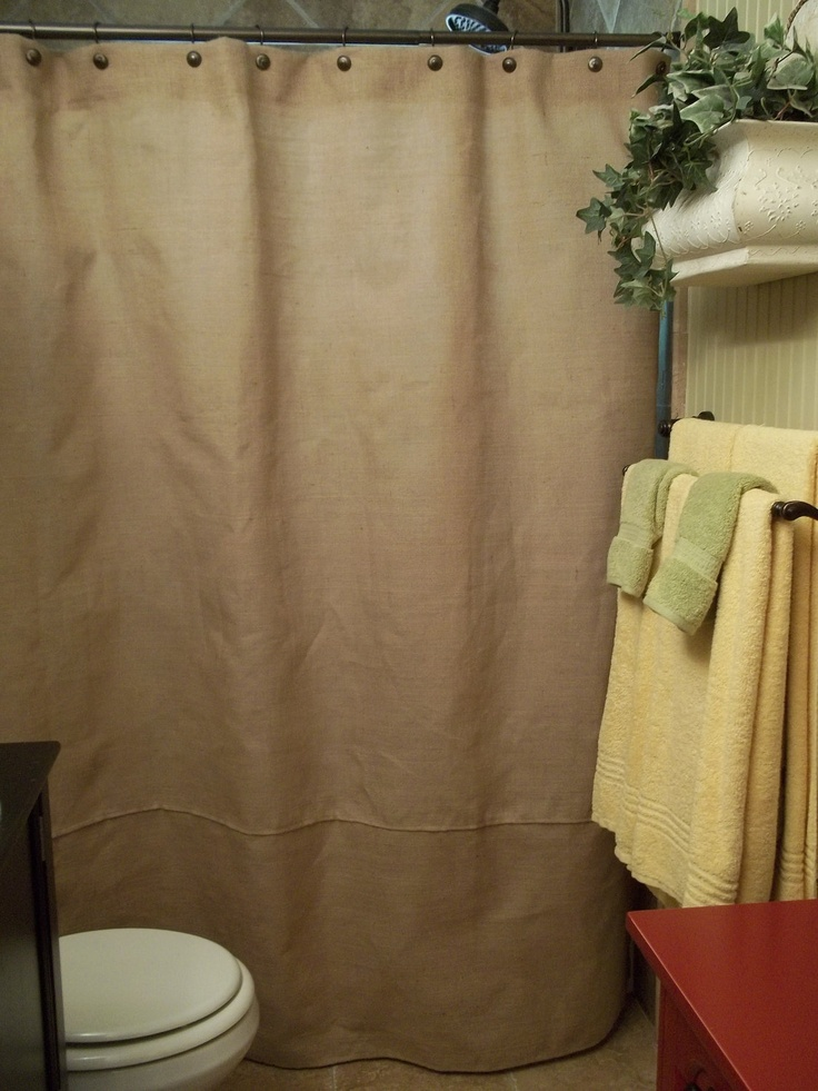 Burlap Shower Curtain - Rustic - Country - French Chic. $57.00, via Etsy.