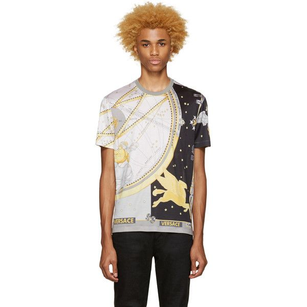 Versace Grey Silk Space T-Shirt ($755) ❤ liked on Polyvore featuring men's fashion, men's clothing, men's shirts, men's t-shirts, grey, mens silk t shirts, mens short sleeve shirts, mens grey shirt, mens silk shirt and mens graphic t shirts