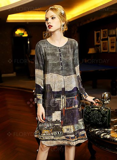 Others Long Sleeve Knee-Length Casual None Dresses (1008450) @ floryday.com