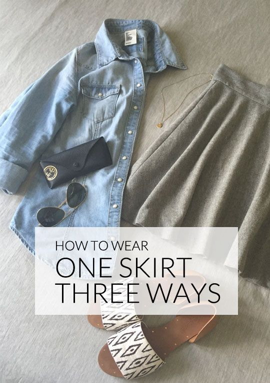 One skirt  but three ways to wear it  A simple skirt is essential to your wardrobe  but one skirt is not enough for casual  professional  and party occasions  Or is it  Pair your skirt with a chambray top for a casual look that is suitable for the office  For the big meeting coming up  you can top the skirt with a button down and a blazer  Think simple and don a cotton blouse with your skirt  it is ideal for warm  breezy days  For more fashion tips  check out eBay  39 s guide to dressing up a skirt