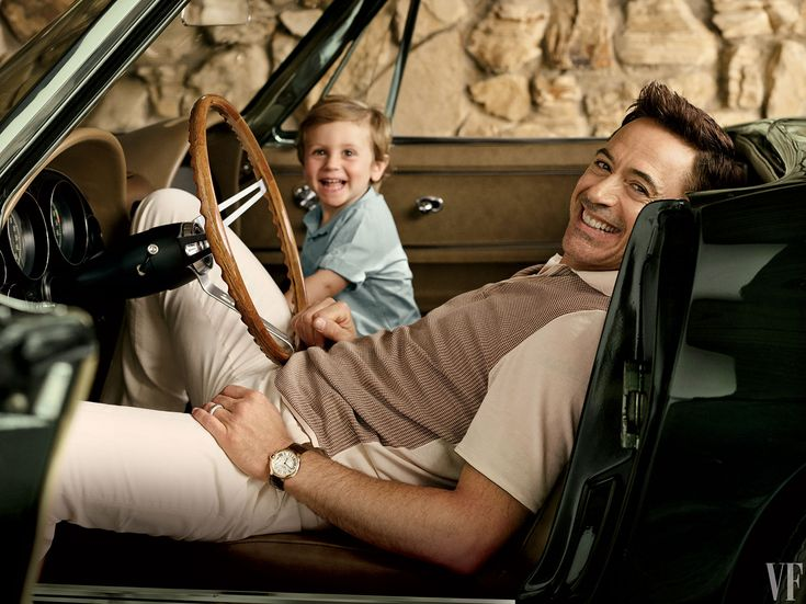 Robert Downey Jr. with his son