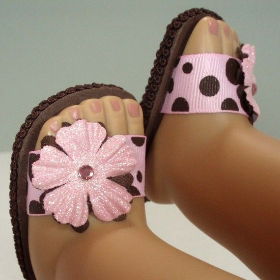 Etsy Transaction - American Girl Doll Shoes Flower Sandals Pink and Brown