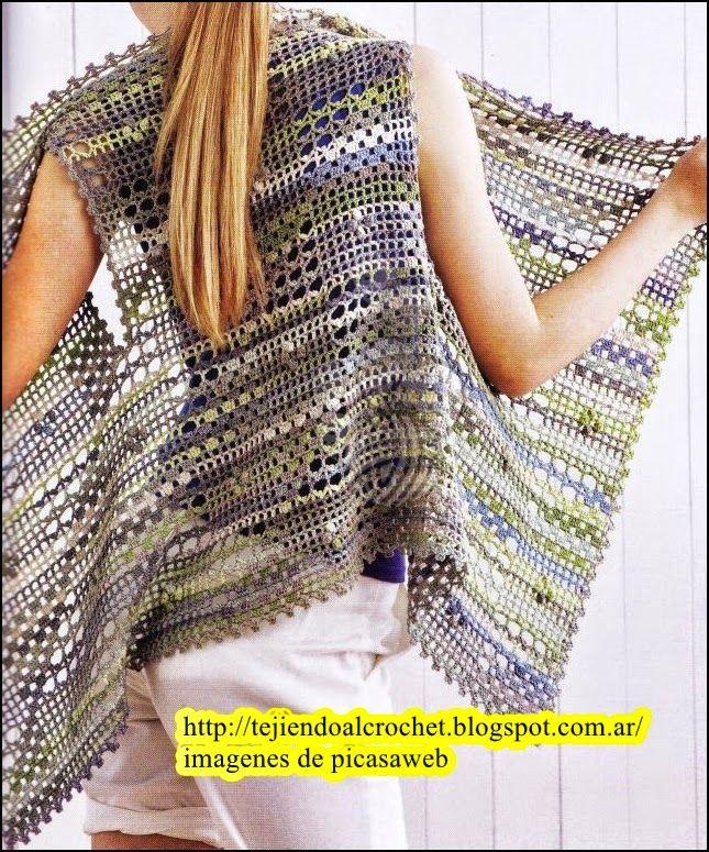 Encantador Patrón Chaleco Hippie Crochet Ilustración - Manta de ...