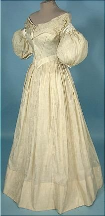 c. 1837-1840 Cream Silk and Linen Wedding or Evening Gown with Satin Trim!