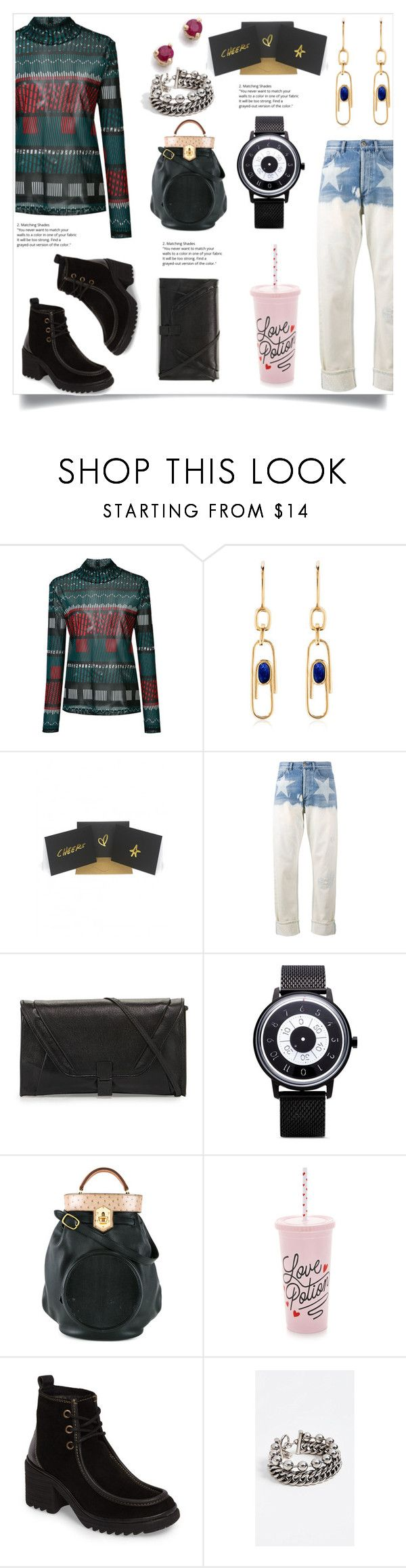 """Tribal Top"" by camry-brynn ❤ liked on Polyvore featuring Issey Miyake, Aurélie Bidermann, Terrapin Stationers, Faith Connexion, Anicorn, Hermès, ban.do, Fly LONDON, Alexander Wang and Blanca"