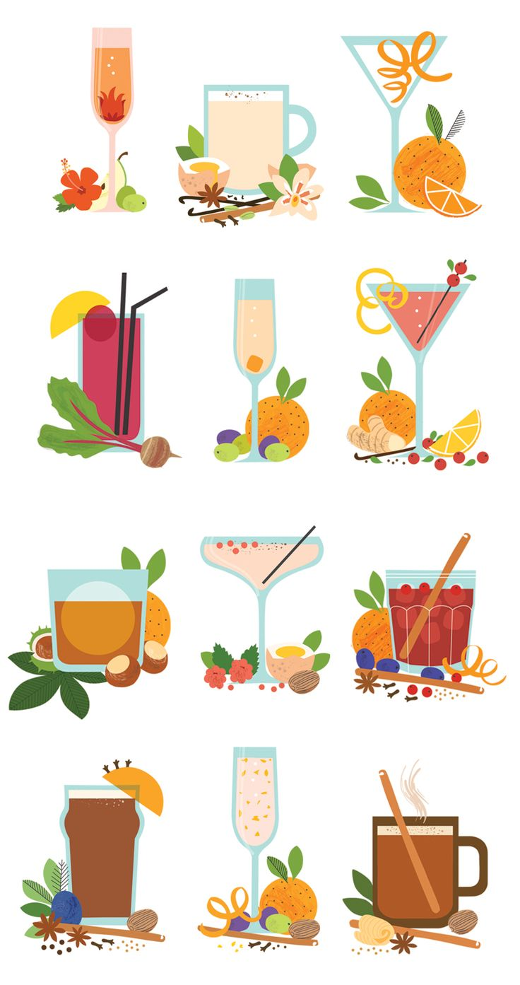Christmas cocktail illustrations for Delicious Magazine by Sarah Abbott