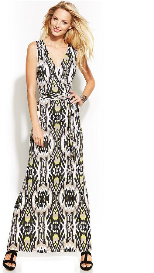 INC International Concepts #Printed Faux-Wrap Maxi #Dress