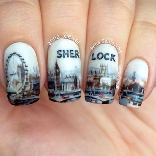 Sherlock nail art https://www.facebook.com/shorthaircutstyles/posts/1758993481057758