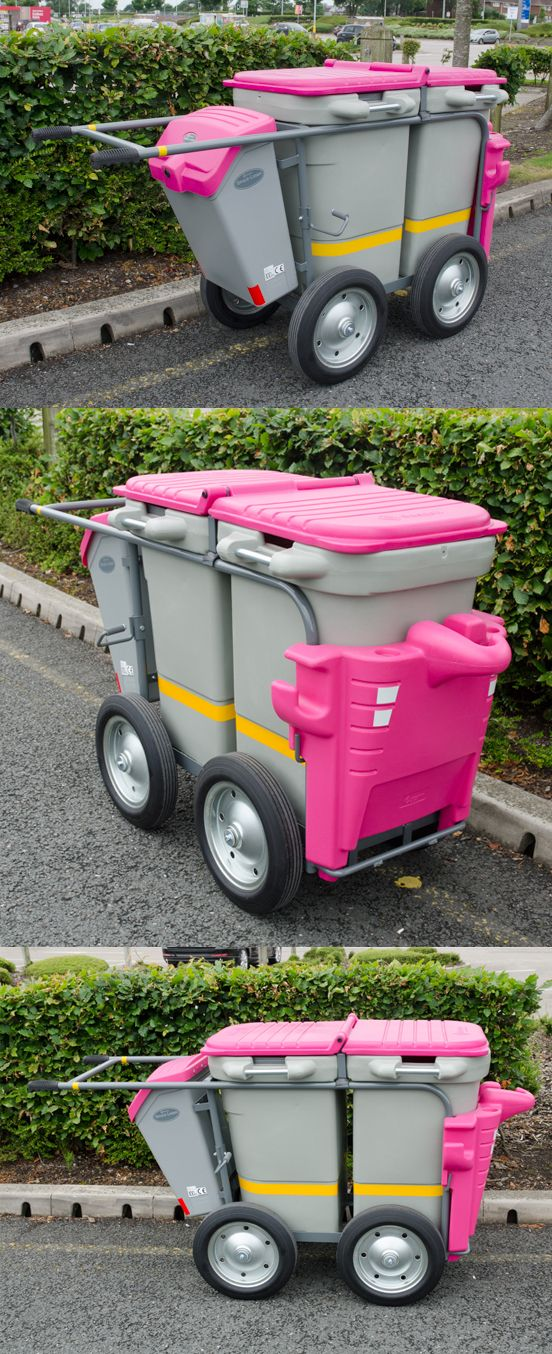 This Double Space-Liner™ waste collection orderly barrow has not only been modified to have four large wheels but also has a unique colour for the lid and front mouldings.
