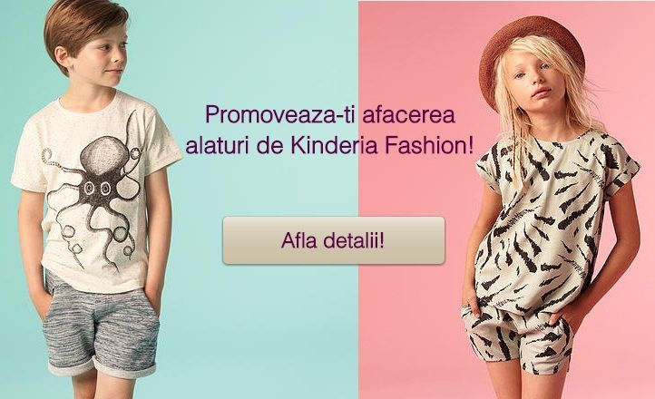 Ai un magazin online, cu hainute pentru copii, pe care vrei sa il promovezi? Devino furnizor pe site-ul Kinderia Fashion si vei beneficia de expunere masiva in mediul online!  ‪#‎kinderiafashion‬ ‪#‎promovare‬ ‪#‎socialmedia‬ ‪#‎hainute‬ ‪#‎imbracaminte‬ ‪#‎fashion‬ ‪#‎copii‬