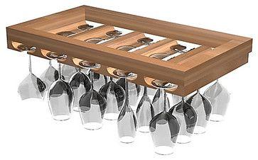 Wine Glass Rack Designer Series in Rustic Pine, Unstained contemporary-wine-racks