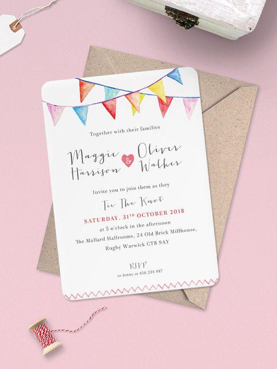 Watercolour Bunting Wedding Invitation - Watercolour Bunting Wedding Invites…