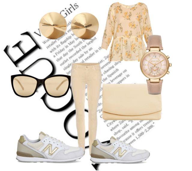 Кроссовки, бежевые джинсы, топ с цветочным принтом, клатч, серьги, очки, часы