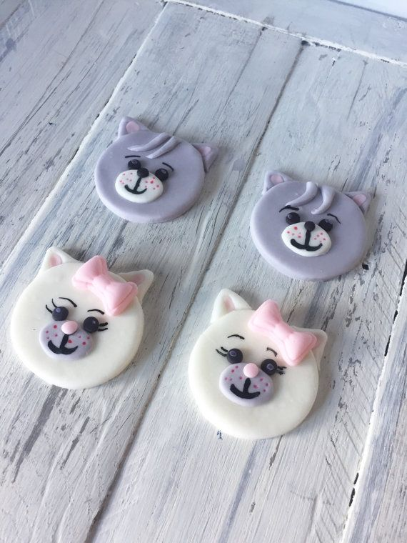 Kitten/Cat cupcake toppers. Great for birthday by VanillaRoom