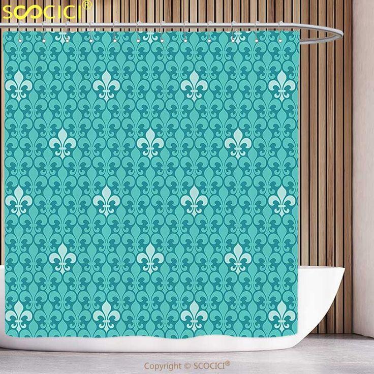 Polyester Shower Curtain Turquoise Decor Fleur De Lis Pattern Ancient Lily Ornate Medieval nterior Monochromic Art Bathroom #Affiliate