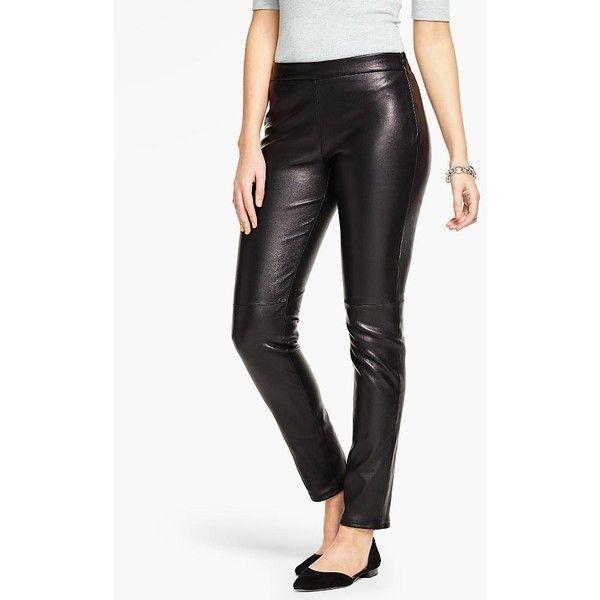 Talbots Women's Talbots Leather Legging ($499) ❤ liked on Polyvore featuring pants, leggings, black, petite leggings, stretchy pants, petite leather pants, legging pants and talbots pants