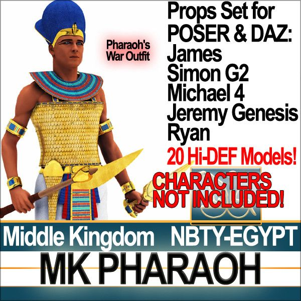 Egyptian MK Pharaoh Props Set with 20 props. All 3D models ready for POSER James, Simon G2, Ryan and free DAZ Michael 4, Jeremy Genesis. Fai...
