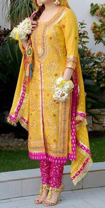 yellow & pink Pakistani frock