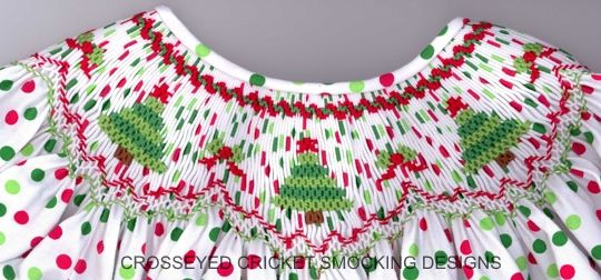 "CEC- ""Jazzy Christmas Trees"" Smocking Plate by Crosseyed Cricket (9-7-16)"