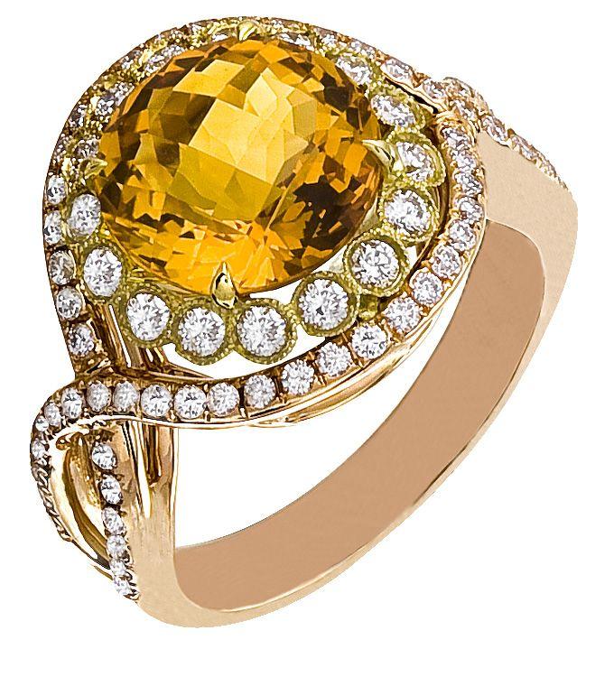 Diamond Ring, .79 Carat Diamonds 3.54 Carat Citrin on 14K Rose & Yellow Gold