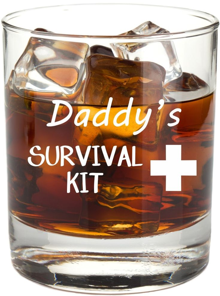 Daddy's Survival Kit - Funny 11 oz Whiskey Glass, Permanently Etched, Gift for Dad, Co-Worker, Friend, Boss, Christmas - RG14