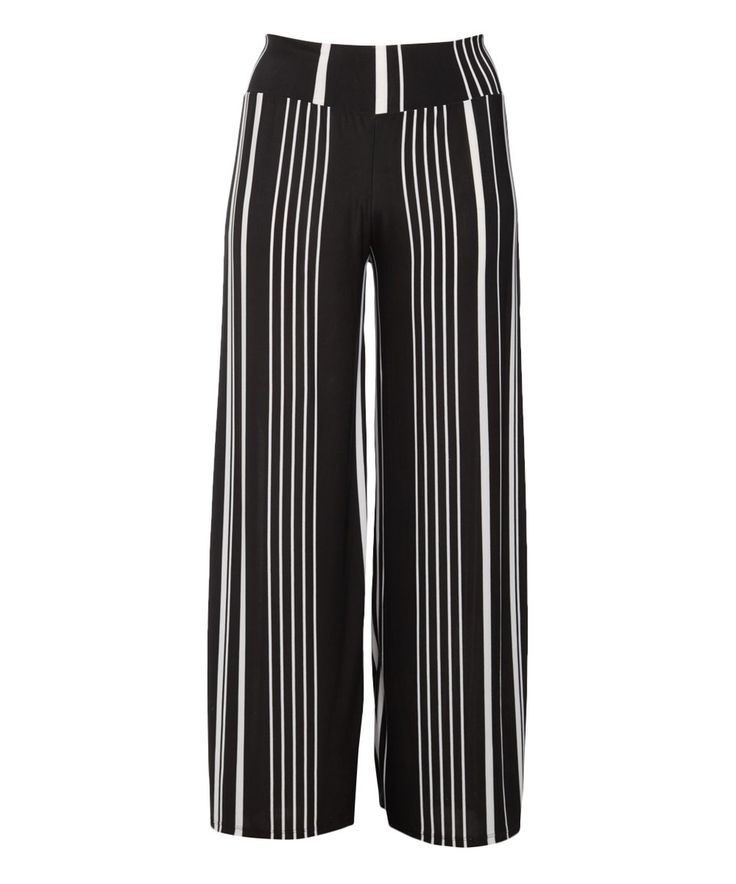 Take a look at this Black & White Stripe Palazzo Pants - Plus today!
