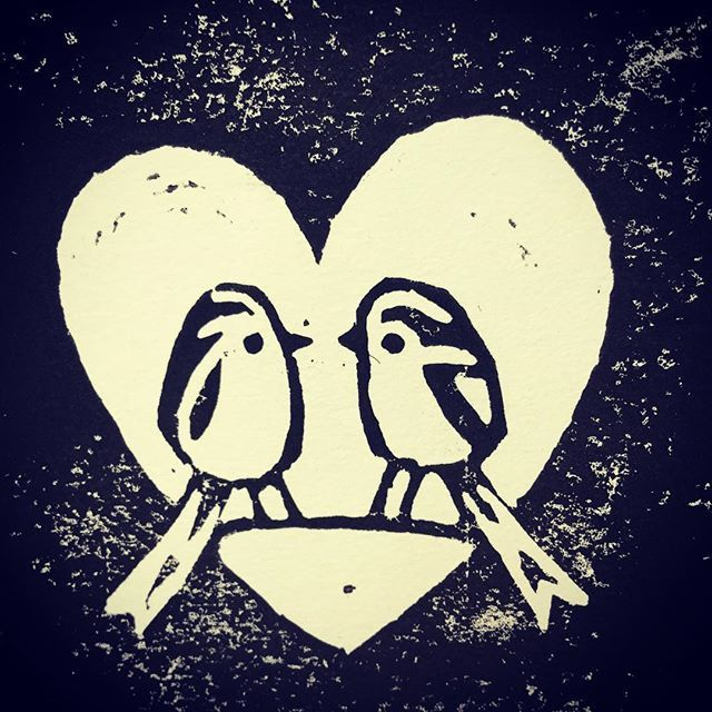 A pair of tits... long tailed tits! For Valentines Day. #birdartben #valentinesday #tits #longtailedtits #linocut #birdsofinstagram #birds