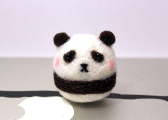 Needle Felted Mini Panda Plush Christmas Ornament by CafeDeYume