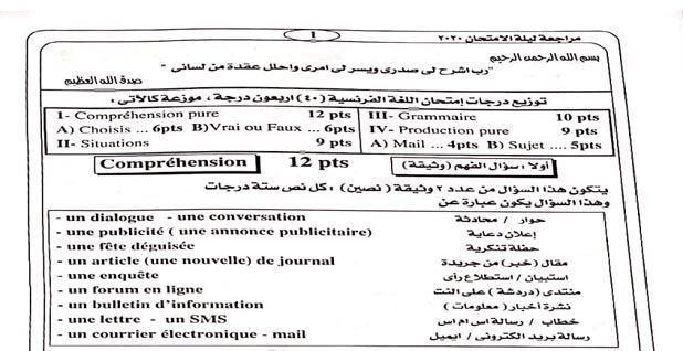 مذكرة مراجعة ليلة الامتحان فى اللغة الفرنسية للصف الثالث الثانوي 2020 Comprehension Person Faux