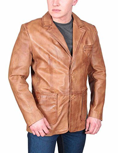 02d426d75c2e Mens Fitted Real Leather Blazer Two Button Patch Pocket Jacket Sammy Tan  (Small).