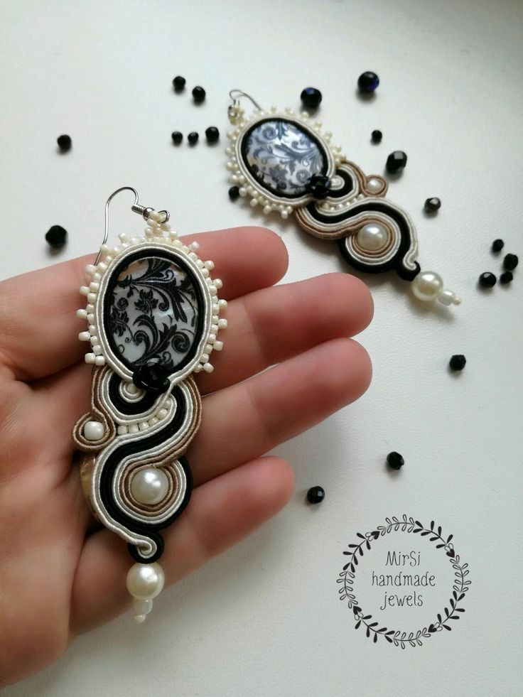 Soutache earrings, pearls, beige, black and cream soutache with black rose
