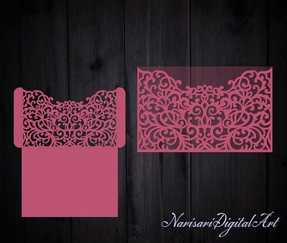 Intricate Laser cut Wedding Invitation Pocket Envelope 5x7, SVG Template, Die cut, Quinceanera, Silhouette Cameo, Cricut cutting file