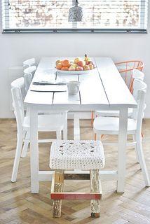 wood & wool white stool