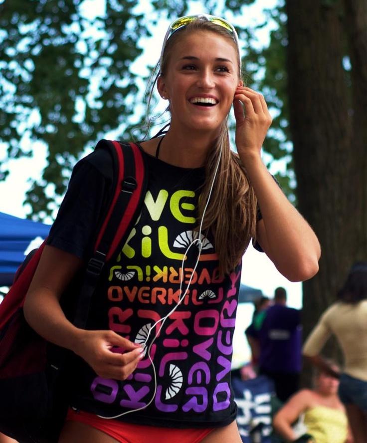 "Taylor Pischke - current National Beach Volleyball Champion sporting ""All Overkill T-shirt"""